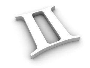 White twin zodiac sign on white background